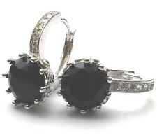 A11 Silver (white gold gf) French hoop round black onyx sim diamond earring BOXD