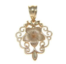 14K SOLID YELLOW GOLD HAWAIIAN PLUMERIA TROPICAL FLOWER FILIGREE PENDANT