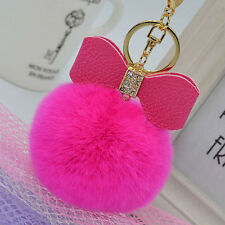 Fashion Rabbit Fur Key Chain Charm Fluffy Ball Car Bow Car Bags Key Ring mei