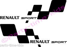 Renault Sport Car Vinyl Decals Stickers Chequered Flag Choice of colour clio rs