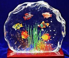 Beautiful MURANO Fish AQUARIUM Art Glass BLOCK Paperweight SCULPTURE