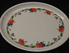 "VILLEROY BOCH AMAPOLA OVAL MELAMINE TRAY 19"" BLUE PURPLE ORANGE FLOWERS PLATTER"