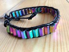 Rainbow Hématite & Cuir Magnétique Bracelet cristal de guérison bijoux gemstone
