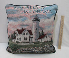Lighthouse Design Tapestry Throw Pillow w/ Navy Blue Back Bed Living Room Decor