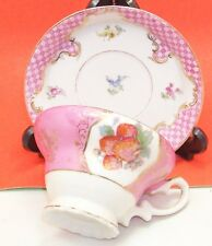 Japan Fine Bone China Tea Cup & Deep Saucer set Pink with gold trim & strawberri