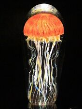 Awesome RICK SATAVA Pacific Coast JELLYFISH Art Glass PAPERWEIGHT Sculpture 6.3""