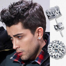 Men's, Youth's, Boys: Silver Plated 8mm Crystal Diamante Sleeper/Stud Earrings