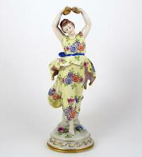 """Vintage Hand Painted Figurine Volkstedt Porcelain Dancer Cymbal Player 10"""""""