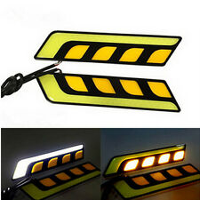 Dual Color White Amber Car LED DRL COB Daytime Running Light with Turn Signal 2x