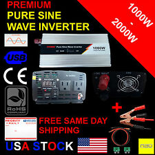 Pure Sine Wave Power Inverter 1000W Peak 2000W DC 12V AC 110V 60 Hz Off Grid LED