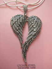 TIBETAN SILVER LARGE ANGEL WINGS ON A STERLING SILVER CHAIN ORGANZA GIFT BAG