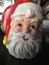 Vintage Huge Large Head Lefton Sticker Santa Planter Candy Holder Cristmas Gifts
