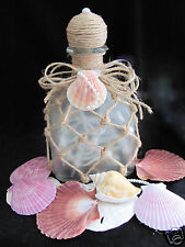 Hand-Painted PATRON-Wine Bottle with LIGHTS Tropical, Shell, Beach Wedding