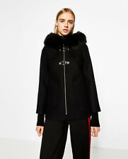 ZARA BLACK A-LINE DUFFLE COAT SIZE MEDIUM (BNWT)