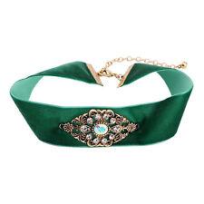 KISS ME New Wide Green Velvet Choker Necklace