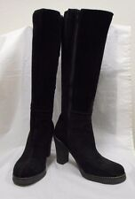 "LA CANADIENNE BLACK SUEDE INNER CALF ZIP ROUND TOE 3 1/2"" HEEL TALL BOOT 37/7"