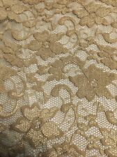 """Gold Lace Fabric - Floral Stretch Lycra - 58"""" Wide - Per Meter"""
