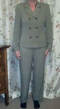 Jones New York womens Sz4 double breasted houndstooth pants suit blk/tan