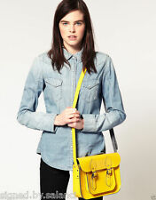 "The Leather Satchel Company 11"" Twin Pin Buckle Yellow Satchel Bag £100"