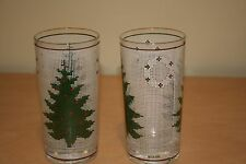 Culver Christmas Beverage Glass Tree and Wreath Design White Mesh Background 2PK