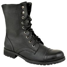 Damen Schnürstiefel Arbeiter Combat Biker Militär Flach Stiefeletten Schuhe