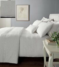 White Percale Embroidered Single Duvet Cover Bedding Bed Set - Windsor