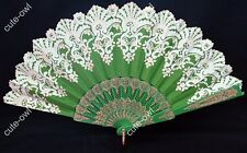 Lady's Green Silk Folding Hand Fan For Outdoor Bridesmaid Wedding Party Favor