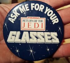 Rare 1983 BURGER KING Employee Star Wars Glasses Button Pin Return of Jedi