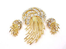 Vintage LISNER Comet Pin and Earrings Gold w Perfectly Clear Rhinestones Exclnt