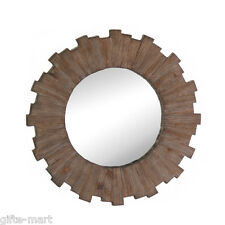 round distressed driftwood WOOD Sun modern retro atomic SUNBURST Wall art Mirror