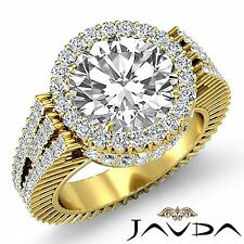 Round Diamond Halo Prong Set Engagement Ring GIA G Color VS2 18k Yellow Gold 4ct