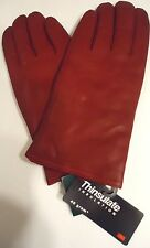Ladies Genuine Leather Thinsulate Gloves,XL, Red