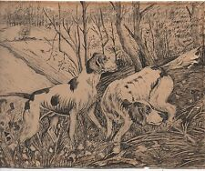 Wonderful 1920s Ink Drawing on Paper of two Hunting Dogs in the Woods