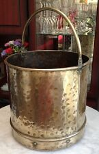 Antique Vintage Hand Hammered Brass Coal Log Bucket Scuttle Fireside Hearth