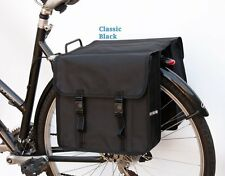 Bicycle Double Pannier Bag Fashion Water Resistant Rear Plain Black  New