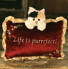 Cushion Throw Pillow Embroidered Cat Themed Gift Filled 20x30cms BRAND NEW