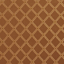 E609 Diamond Green Brown Gold Damask Upholstery Drapery Fabric By The Yard