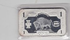 USA INDIAN BISON ONE TROY OUNCE 999 SILVER BAR IN MINT CONDITION