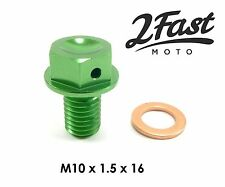 Kawasaki KDX 80 200 250 KD80X KMX125 Magnetic Oil Drain Plug Bolt Green NEW