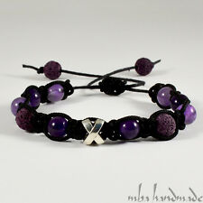 MEN'S PURPLE LAVA ROCK AMETHYST NATURAL GEMSTONE BEADED SHAMBALLA BRACELET MBA