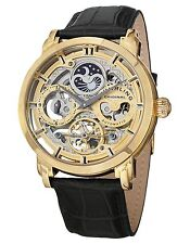 Stuhrling 371 02 Mens Automatic Skeleton Dual Time Analog Black Leather Watch