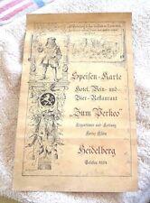 VINTAGE MENU HEIDELBERG GERMANY ZUM PERKEO WINE BEER RESTAURANT 1952