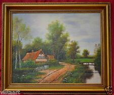 """Oil Painting on Canvas in Antique Style 16x19"""" Frame-Cottage in the Country"""