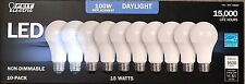 FEIT Electric 100W Led Bulbs 15W Daylight 1600 Lumens - 10 Pack