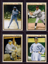 Set of 4 Shoeless Joe Jackson career set, Rookie, Traded, Banned, Life Goes On