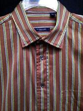 Men's Burberry London Brown Green Stripe LS Shirt Size L EUC