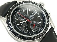CASIO EDIFICE EF-503L-1A MEN'S Tachymeter LEATHER DATE QUARTZ SPORTS WATCH 100M
