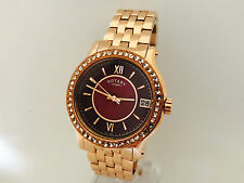 64N NEW ROTARY LADIES ROSE GOLD WATCH MIYOTA PURPLE FACE LARGE STEEL LB03033/17