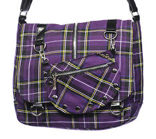 Banned Apparel Tartan Purple Cross Body Scottish Rockabilly Shoulder Bag Small