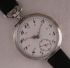 Early Cylindre1890 Swiss Solid Silver & Gold GENT'S Wrist Watch Perfect Serviced
